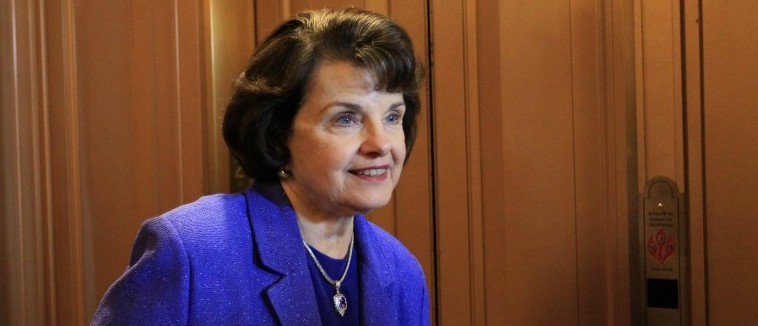 Sen. Dianne Feinstein, D-Calif., goes to an elevator on Capitol Hill in Washington Thursday, July 15, 2010, after Congress passed the stiffest restrictions on banks and Wall Street since the Great Depression. (AP Photo/Alex Brandon)