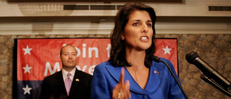 South Carolina Republican candidate for Governor Rep. Nikki Haley, speaks to supporters at the Capital City Club in Columbia, S.C., shortly after a runoff was declared Tuesday, June 8, 2010. (AP Photo/Brett Flashnick)