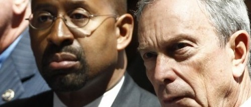 Philadelphia Mayor Michael Nutter, left, and New York City Mayor Michael Bloomberg (AP Photo/Charles Dharapak)